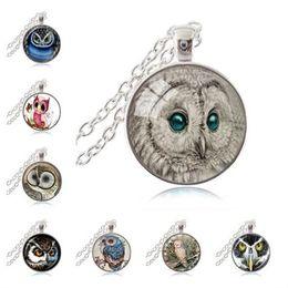 Wholesale Owl Pendant Jewellery - White Owl Necklace Green Eye Jewelry Glass Cabochon Time Gem Pendant Bird Picture Sweater Necklace Women Men Fashion Jewellery
