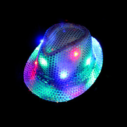 Wholesale Led Cowboy Hats - LED Lights Cowboy Hat Halloween Jazz Sequins Adult and Children's Show Stage Performance Hats Luminescence