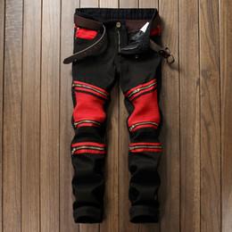 Wholesale Designer Mens Cargo Pants - Fashion Mens Biker Jeans Pants Multi zip black  red Pleated Motorcycle Denim Joggers Male Brand Designer Cargo Jean Trousers