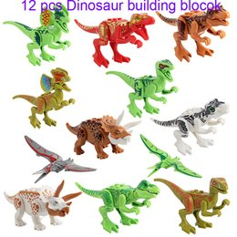 Wholesale Puzzle Blocks - 12Pcs Dinosaurs of block puzzle Bricks Dinosaurs Figures Building Blocks Baby Education Toys for Children Gift Kids Toy