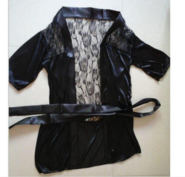 Wholesale New Chiffon Sexy Lingerie - Fashion New Sexy Lingerie Satin Black Lace Kimono Intimate pijamas Robe noite vestido,Plus Size XL,free shipping