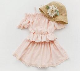 Wholesale Set Princess Skirt - Girls sweet princess dress outfit summer new kids ruffle shoulder suspender tops +lace knee length skirts 2pcs sets kids clothing A0844