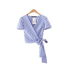 Wholesale Black Tie Neck Blouse - striped cross V neck crop tops bow tie short sleeve short shirts ladies casual tops blouses