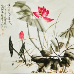 Wholesale Lotus Bedding - Chinese traditional ink painting famous Painting master hand Authenti of lotus for hall  living room bed room Mordern decoration.
