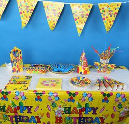 Wholesale Kids Party Table Cloths - Children Cartoon Party Decoration Kids Birthday Accessories Party Supplies Banner Hat Folk Disk Table Cloth Gift Bag MT-059