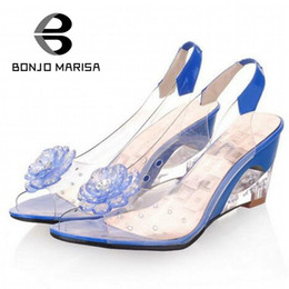 Wholesale Woman Flat Sandals Size 43 - Wholesale-BONJOMARISA Big Size 34-43 Factory Price Rome stylish high quality fashion wedge heel sandals dress casual shoes sandals XB140