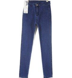 Wholesale Japan Style Plus Size Fashion - 2016 fashion vintage blue denim jeans woman pencil casual denim stretch skinny high waist jeans pants women Plus size Summer Hot