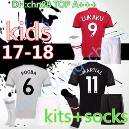 Wholesale United Kids - 2017 2018 Kids kits+socks POGBA home away 3rd soccer jersey 17 18 youth UNiTed LUKAKU MARTIAL ROONEY RASHFORD child shirt Football jersey