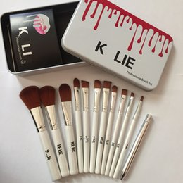 Wholesale Make Up White Powder - Kylie Makeup Brushes 12 pcs Professional Brush Sets Brands Make Up Foundation Powder Beauty Tools Cosmetic Brush Kits with Retail Iron Box