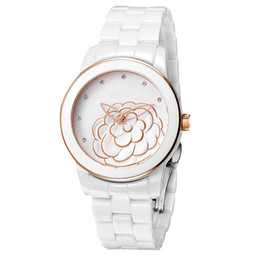 Wholesale Luxury Flower Girls Dresses - 2017 AAA Lady Dress Women Watch Ceramic Flower Style Luxury watches top brand Quartz Wristwatches for Women Girl gift relojes Free Shipping