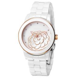 Доставка цветов онлайн-2017 AAA Lady Women Women Watch Керамический цветок Стиль Роскошные часы топ бренда Кварцевые наручные часы для женщин Подарочные наборы для девочек Бесплатная доставка