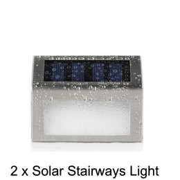 Wholesale Led Stairway Wall Lights - LED Solar Light Waterproof 2Leds Solar stairways light Garden Lights Outdoor Landscape Lawn Lamp Solar Wall Lamps