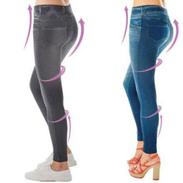 Wholesale Girls Jeans Leggings - 50pcs Plus Size Women Slim Leggings Jeans Woman Jeggings Fitness Black Sexy Disco Pants Girls Leggins With 2 Real Pockets