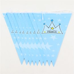 Wholesale Birthday Boy Party Themes - Wholesale- Party Paper Banners Bunting Supplies Prince Crown Theme Birthday Party Decorations Flags Event Party Supplies For Boys 1Set