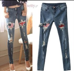 Wholesale Union Jacks Pants - Europe and the union jack Hole burrs cultivate one's morality show thin elastic jean little pencil pants Female trousers