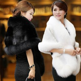 Wholesale Warm Wedding Wraps - Winter Faux Fur Wedding Bridal Wraps Women Warm Shawls Coat Outerwear White black Burgundy Cheap Fur Wedding Capes Bridal Shrugs Boleros