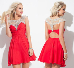 Wholesale Nek Dresses - Red Chiffon with Beads 8th Grade Graduation Dresses Sheer Bateau Nek Rhinestones New Rachel Allan Short Homecoming Dresses HY1047