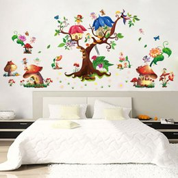 Wholesale Beautiful Package Design - Beautiful butterfly Mushroom Wall Sticker Creative Flower Elf Wall Art DIY Home Decor for Kids Room Kindergarten Decoration