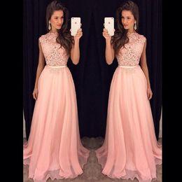 Wholesale Flow Party - 2017 Fancy New Pink Chiffon Long Prom Dresses Illusion Lace Top Flow Chiffon Floor Length Evening Vestidos De Fiesta Party Dresses with Belt