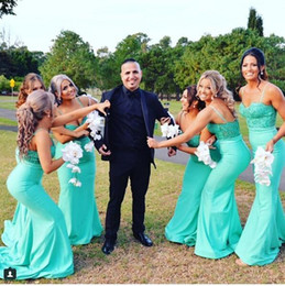 Wholesale Evening Dresses Turquoise Color - 2017 Cheap Turquoise Mermaid Bridesmaid Dress Spaghetti Straps Sequins Satin Long Evening Party Gowns Wedding Guest Dresses Custom Made