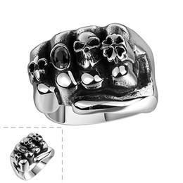 Wholesale Mystery Black - Men's Cool Mystery Jewelry Gothic Flower Skull 316L Stainless Steel Ring Anarchy Death Skull Ring with Black Zircon Luxury Christmas Gifts