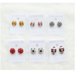 Wholesale Girl Earrings - 2017 new good cheap discount Bling Baseball Softball Stud Earrings (Clear Red) freeing shipping fee Rhinestone Crystal Bling Sports Girls