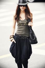 Wholesale Harem Capris - Fashion Black Harem Pants Clubwear Women's Loose Trousers Korea Pants Capris