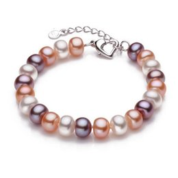 Wholesale Freshwater Lobsters - Top Quality 9-10mm Natural Freshwater Pearl Bracelet For Women White multi-color 18cm+4cm extended chain