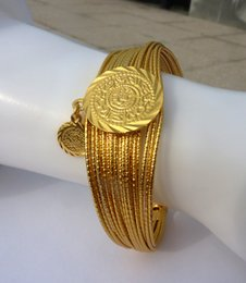 Wholesale Greek Box - 24k THAI BAHT REAL SOLID FINE YELLOW GOLD GF COIN HANGING DROP BANGLE OPEN THREAD GREEK ROMAN GRECIAN STATEMENT