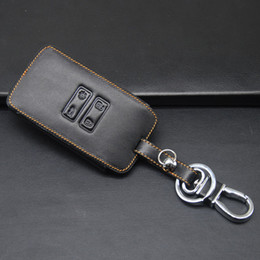 Wholesale renault leather - High-quality Genuine Leather Car Key Fob Case Holder Bag For Renault Kadjar 4 Buttons