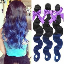 Wholesale European Hair Extentions - Brazilian Ombre Hair Body Wave Hair Weaves 3 Bundles per lot Machine Made Double Weft Color 1B Blue Ombre Body Wave Hair Extentions