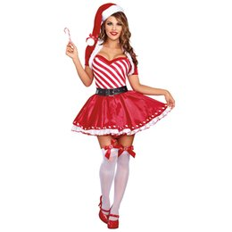 Wholesale Red Stripes Lace Skirt - New Tube Top Stripes Cute Pompon Christmas Short Skirt Lace Skirt Christmas Wear New Year Party Dress