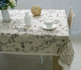 Wholesale White Linen Table Cloth - Hot Selling Wholesale High Quality European map printed cotton and linen table cloth wholesale Flax towel universal table cloth