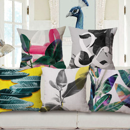 Wholesale Leaf Pillows - decorative nordic design cushion cover for couch chair modern plant throw pillow case grey leaf almofada 45cm home cojines