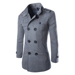 Wholesale Mens Slim Fit Pea Coats - Wholesale- New Casual Double Breasted Coat Men British Style Stand Collar Slim Fit Long Trench Coat Men Mens Wool Pea Coat Manteau Homme