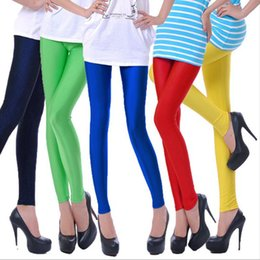 Wholesale Women Neon Clothes Wholesale - Mid-Calf Deportes Aptitud Spring Summer Solid candy Neon leggings for women High Stretched legging clothing Cropped 16 Color