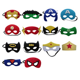 Wholesale Halloween Costume Captain America - Costume Party Masks Cartoons Halloween Cosplay Masks Kids Superman Captain America Batman Felt Mask Wholesale