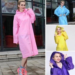 Impermeable de mujer online-Nuevo Easy Carried Rain Coat Wind Coat EVA Impermeable con Capucha Impermeable Transparente Poncho Senderismo Impermeable No Desechable Senderismo de las mujeres B0487