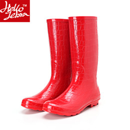 Wholesale Sexy Girls Rubber Boots - Knee High Rain Boots Women's Fashion Red Crocodile Pattern Motorcycle Rubber Rainboots Girl Ladies Sexy Long Waterproof Shoes Imitation Boot