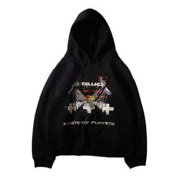 Осень Зима Человек Толстовки Hi-Street Metal Rock Band Metallica Cross Letter Печатные Пуловеры Мода Черный Цвет Мужская Одежда от