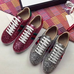 Wholesale Sequins Sneakers - High quality Luxury Brand Style Women Flats Shoes Lace Up Genuine Leather Fashion Sequins Sneakers + BOX