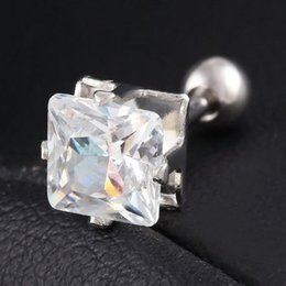 Wholesale Earings Round - Earings for Woman Silver Plated Alloy Stainless Steel Rivet Stud Earrings Mens Earrings,Round With White Diamond Crystal Stud Earrings