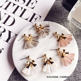 Wholesale Transparent Tin - Han Guodong door solid metal bowknot glass transparent crystal tassels sweet temperament joker earrings stud earrings