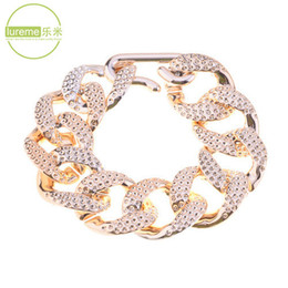 Wholesale Chunky Chains Design Wholesale - Wholesale- Hot Sale 2015 Newest Fashion Design Lureme Brand Jewelry Gold Plated Acrylic Knocking Glaze Chunky Chain Bracelet For Ladies