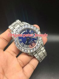 Wholesale Watch Big Size Men - Huge diamonds bezel big size 43mm wrist watch luxury brand hip hop rappers full iced out silver case blue face dial men watches