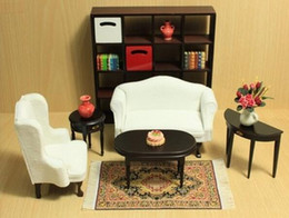 Wholesale Wood Living Room Furniture Sets - G05-X4471 children baby gift Toy 1:12 Dollhouse mini Furniture Miniature rement-European style living room 1 set