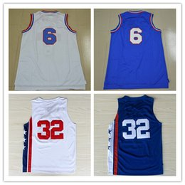 Wholesale Cheap Mesh Shirts - Cheap Red 6 DR.J Retro Basketball Jersey Stitched White Blue ABA College Retro Throwback 32 Julius Erving Mesh Shirt Good