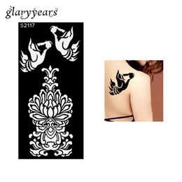 Wholesale Black Henna Hand Tattoos - Wholesale-1 Piece Black Henna Tattoo Stencil Airbrush Painting Henna Paste Drawing Flower Hand Women Back Art Tattoo Stencil Sticker S2117