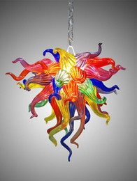 2019 luzes suspensas comerciais led Murano Glass Crystal Chandelier Colorful Cheap Small Chandelier Lighting Living Room Dining Room LED Glass Art Lights