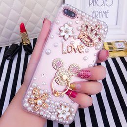 Wholesale Crown Iphone Case Cover - Handmade Clear Bling Gold Crown Crystal Rhinestone Diamond Case Cover for iPhone 6 6s 4.7 inch hot sell Rhinestone bling crystal pearl